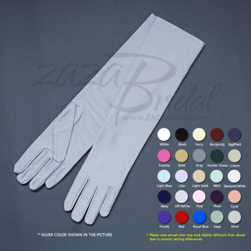 4-Way Stretch Matte Finish Satin Dress Gloves Below-The-Elbow Length 8BL