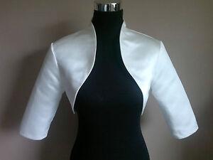 White-Soft-Satin-Bolero-Shrug-Jacket-Stole-Shawl-Wrap-Tippet-3-4-Sleeves-UK-6-24
