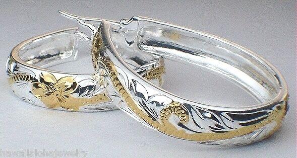 25mm Hawaiian 2-Tone STER Silver 14k Yellow Gold Princess Teardrop Hoop Earrings