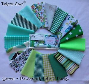 GREEN-Patchwork-Craft-Bundle-Fabric-Material-Remnants-FREE-Ribbon-amp-Buttons