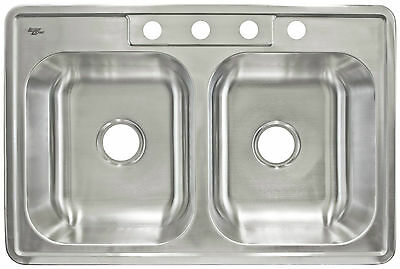 """Kitchen Sink Top Mount Stainless Steel 33"""" x 8"""" Deep by LessCare LTD84"""