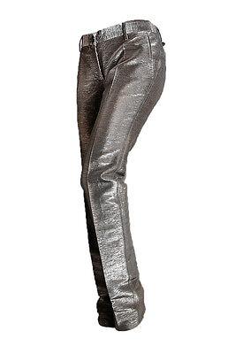 D&G  Dolce & Gabbana Damen Hose Gr. 42, Women Pants, Dunkelgrau Metallic, NEU !