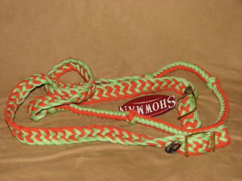 Horse Tack Knotted Nylon 7/' Braided Roping Competition Rein Western Barrel