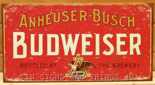 Rustic Anheuser Busch Budweiser TIN SIGN vtg metal beer bar decor ad retro 1283