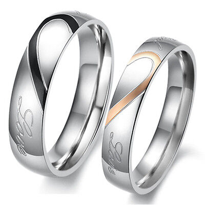 Heart-shaped Titanium Steel Promise Ring Couple Wedding Bands Lover gift J01