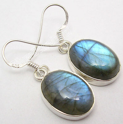 925 Silver Real LABRADORITE Big Dangle Earrings 3.3CM