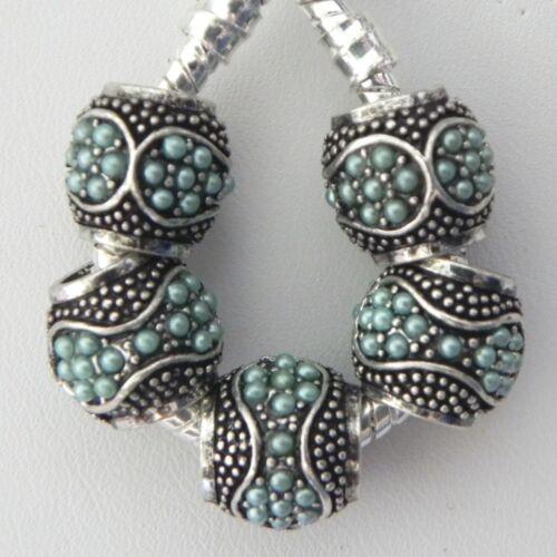 5 Antique Silver Blue Spacers for European Style Charm Bracelet Necklace R98
