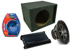 KICKER-CAR-AUDIO-10-034-2-OHM-SUB-CVR10-LOADED-VENTED-SUBWOOFER-BOX-amp-DX300-2-AMP