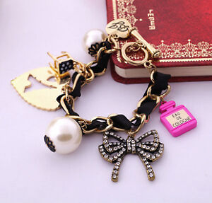 Betsey-Johnson-Work-fine-pearl-crystal-bow-and-a-small-stool-bracelet-B011