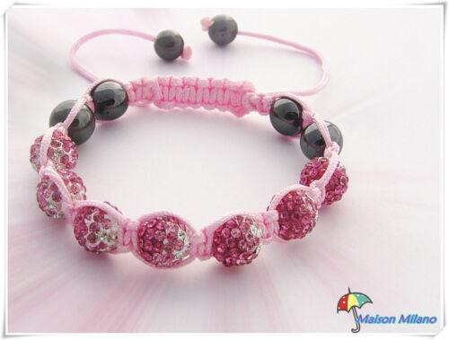 Bracelet style SHAMBALLA 66 strass Ange Rose HEMATITE NIALAYA nouveau modele