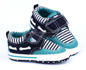 Toddler Baby Boy Strip Boat Shoes Crib Sneaker Size 0 6 6