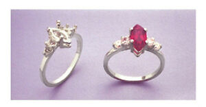 (10x5-16x8mm) Marquise Sterling Silver Double Accented Ring Setting Size 7