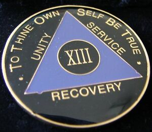 Purple Alcoholics Anonymous AA 13 Year SYMBOL BACK Medallion Coin Chip Token