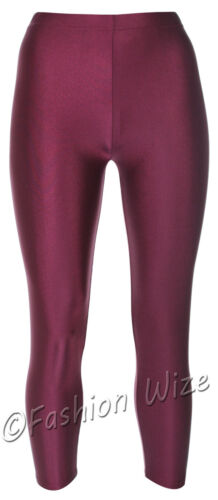 Girls Leotard Leggings Shiny Dance Gymnastics Stretchy Sports Pink Red Navy