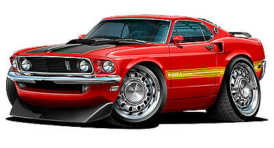 Ford Mustang Mach-1 428 Super Cobra Jet 1969 Wall Graphic Vinyl Decal Man Cave