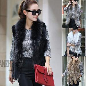 HOT-Knit-Farms-Rex-Rabbit-Fur-Vest-Gilet-With-Ussuri-RACCOON-Fur-Collar
