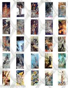 25-Rackham-Norse-Gods-amp-Fairies-24x48mm-Collage-Paper-for-Glass-Tile-Pendants
