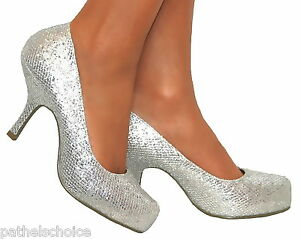 LADIES SILVER GLITTERY PLATFORM KITTEN HEELS COURT SHOES EVENING