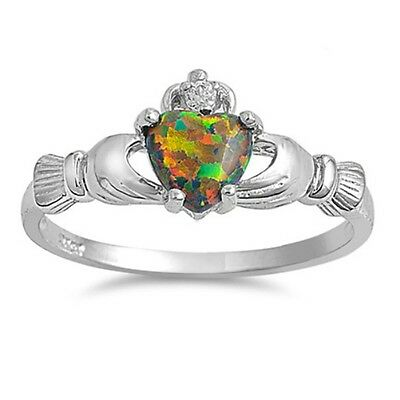 Sterling Silver Claddagh ring CZ Heart Crown Rainbow Black Opal size 4-12 Irish