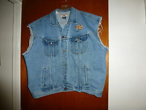 Lee-Cut-Off-Vintage-Motorcycle-Classic-Denim-Vest-Size-2XL-with-Logo