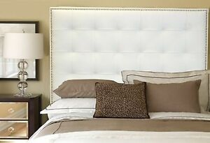 Queen Size White Genuine Leather Buttonless Tufted Headboard w/ Nail Heads Trim.