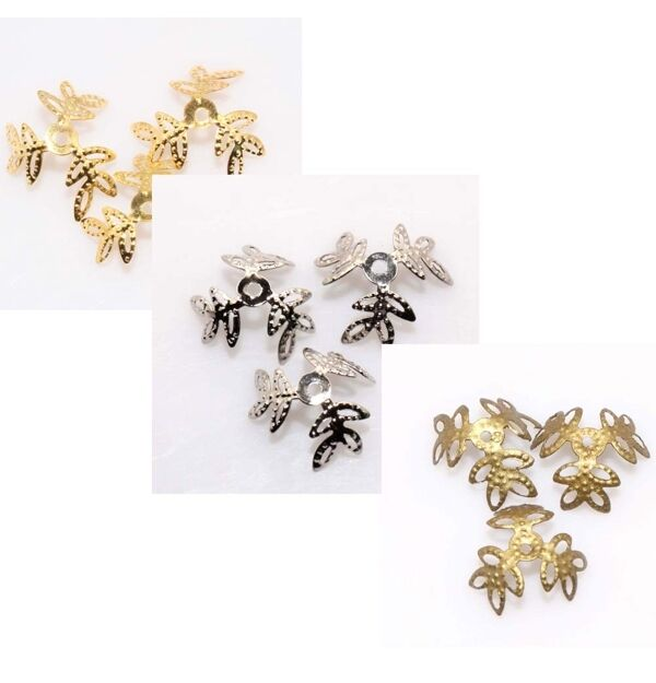 18mm Silver/Golden/Bronze Plated Bead Caps Findings Tone Clover Leafs 100pcs