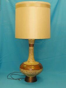 Huge mid century modern danish ceramic pottery table lamp w image is loading huge mid century modern danish ceramic pottery table mozeypictures Choice Image