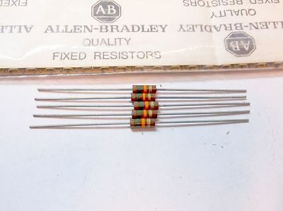 5 Allen Bradley Carbon Comp Resistors RC20GF153J  15k 1/2W 5%