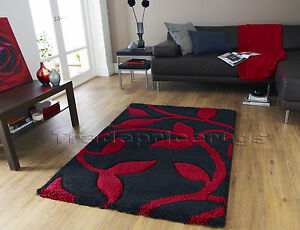 SMALL-THICK-HIGH-DENSITY-DEEP-SHAG-PILE-BLACK-RED-SHAGGY-SOFT-CARVED-RUG-80x150