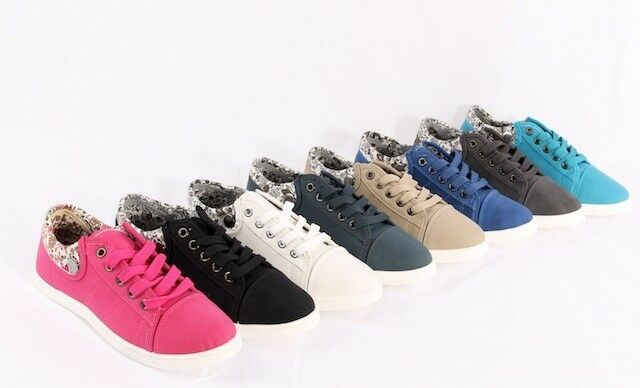 Womens Ladies Lace Up Floral Cuff Trainers Flats Sneakers Shoes Plimsolls 2013