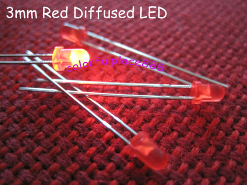 Resistors for 9V 12V 100pcs 3mm Red Bright Round Diffused LED Leds Red Lens