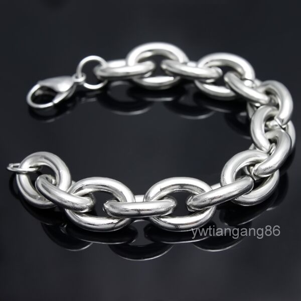 """New Design Heavy Strong Silver Stainless Steel Chain Men's Bracelet Jewelry 9"""""""