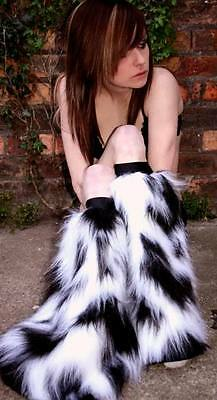FB rave wear fluffies furry fluffy legwarmers B/W camo