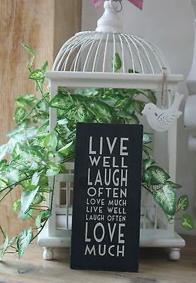 Shabby Rustic East of India Sign / Plaque Live Well, Laugh Often Friendship Chic