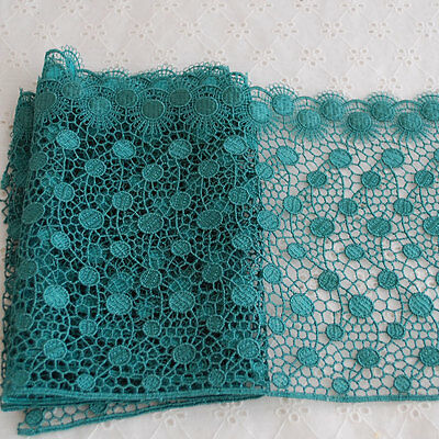 1 Yard Embroidery Guipure Lace Trim Polka Dots Teal Green - 17cm - GLR14