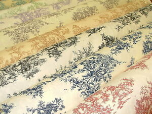 French-Toile-de-Jouy-100-Cotton-Designer-Upholstery-Curtain-Shabby-Chic-Fabric