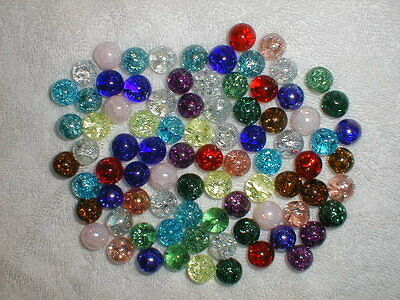 SET OF 84 MULTICOLOR CRACKLE Glass MARBLES