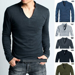 Mens Basic Tee GYM Sports Shirt Long Sleeve T-Shirt Unique V-neck ...