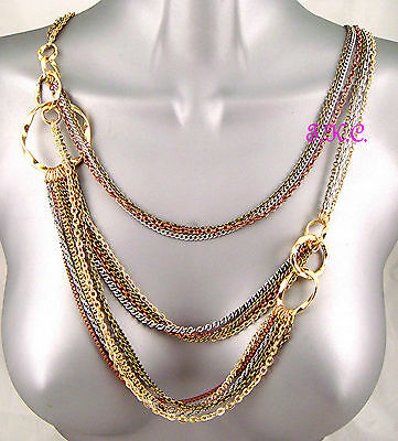 Designer Style Long Multi-Strand Chains Gold Silver Gypsy Belt Necklace, Mikey