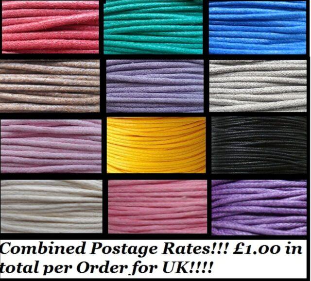 60 Metres x 2mm Mixed Colour Wax Cotton Cord/thread