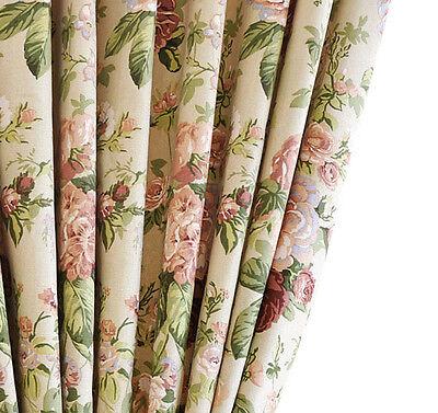 C013 Pair of Curtains w/Tiebacks,Cotton ,Floral Print on Cream, 2 @125cm x 230cm