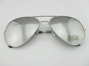New-Men-039-s-Women-039-s-Aviator-Style-Sunglasses-Metal-Frame-Silver-Mirrored-Lens