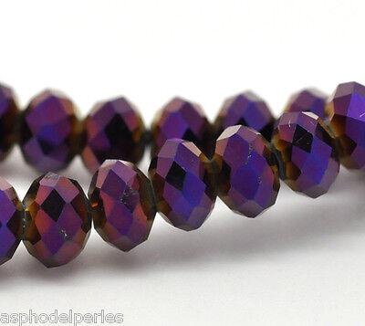 Lot de 20 perles à facettes rondes aplaties  cristal de Chine 6 x 4,5 mm