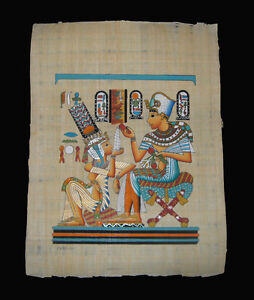 Egyptian-Papyrus-genuine-hand-painted-King-Tut-offering-drink-for-wife-43x33cm