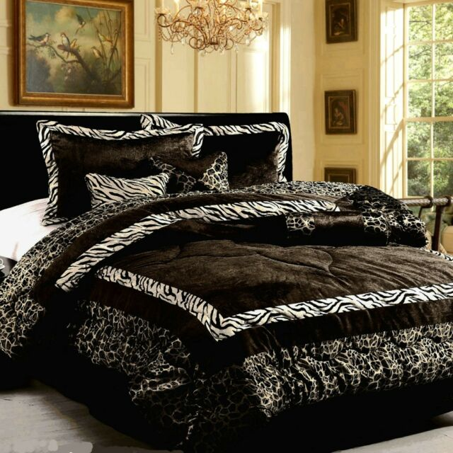 15 PC Faux Fur Zebra Safarina Black White Comforter with Matching curtain Set