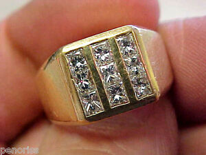 1.00 ctw VS1-G Mens Diamond Ring Princess Cuts 14k Gold size 7 Highest Quality