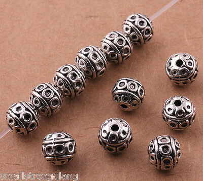 Free shipping Tibetan Silver Beads Spacer Bracelet Charms Jewelry Findings 8mm