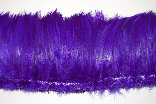 "2 Yards HACKLE FRINGE - PURPLE 4-6"" Feathers Trim/Craft/Costume/Halloween"