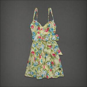 NWT-Abercrombie-Fitch-Jennie-Floral-Summer-Lined-Sun-Dress-Yellow-Women-Sz-M