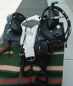 15-034-NEW-Black-Leather-Western-Pleasure-Saddle-PKG-GREAT-BUY